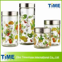 4PCS vaso de vidrio redondo alto con tapa de metal de tornillo