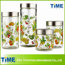 Pot en verre rond à 4 côtés avec couvercle métallique à vis