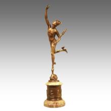 Mythologie Figur antike Statue Hermes Paar Bronze Skulptur TPE-946/947
