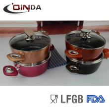 8шт красочный кованые индукционно дно мраморным покрытием наборы посуды