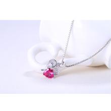 925 Sterling Silber Diamant Schneiden Ruby Kristall Herz Anhänger