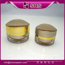 Plástico cor de ouro acrílico 15g pequeno frasco de creme cosmético