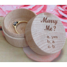 Natural Wood Personalised Engagement Ring Wedding Rings Box ,Valentines Gift