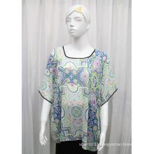 Lady Fashion Printed Polyester Chiffon Silk T-Shirt (YKY2218)