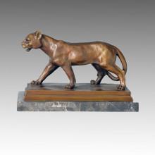 Animal Escultura De Bronce León Talla De Deco Latón De La Estatua Tpal-089