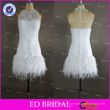 Real Pictures Sexy sem mangas Halter Zipper Back Short White Feather Bainha Cocktail Dress