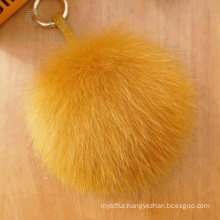 Hot Selling fox pom pom fur ball keychain designer
