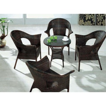 Round Glass Outdoor Freizeit Rattan Esszimmer