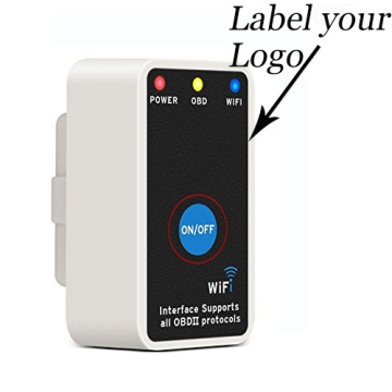 Customized Mini Elm327 WiFi Elm 327 White OBD2 OBD II Can-Bus Diagnostic Tool with Switch Works for iPhone/Ios/Android/Symbian/Windows PC