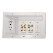 Home Office & Theater,In Wall TV Power Kit, White,  Home Entertainment Boxes recessed power cabling connections