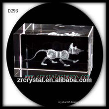 K9 3D Laser Subsurface Etched Rat Inside Crystal Block