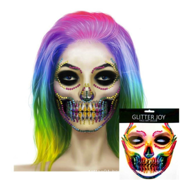 Festival Beautiful Body Art Makeup Halloween Costume Skull Face Stickers 3D Crystal Tattoo Adhesive Face Jewelry