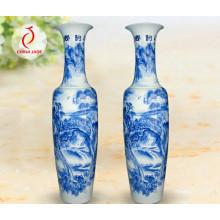 Jarrón chino y chino de la porcelana china antigua, Jarrón azul y blanco de China, Jingdezhen alto y grande Jarrón azul y blanco de la porcelana