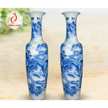 Antique Chinese Porcelain Blue and White Vase, China Blue and White Vase, Tall and Large Jingdezhen Blue and White Porcelain Vase