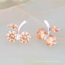 Bijoux de mode de boucle d'oreille de forme de fruit avec la boucle d'oreille en cristal de qualité de catégorie AAA