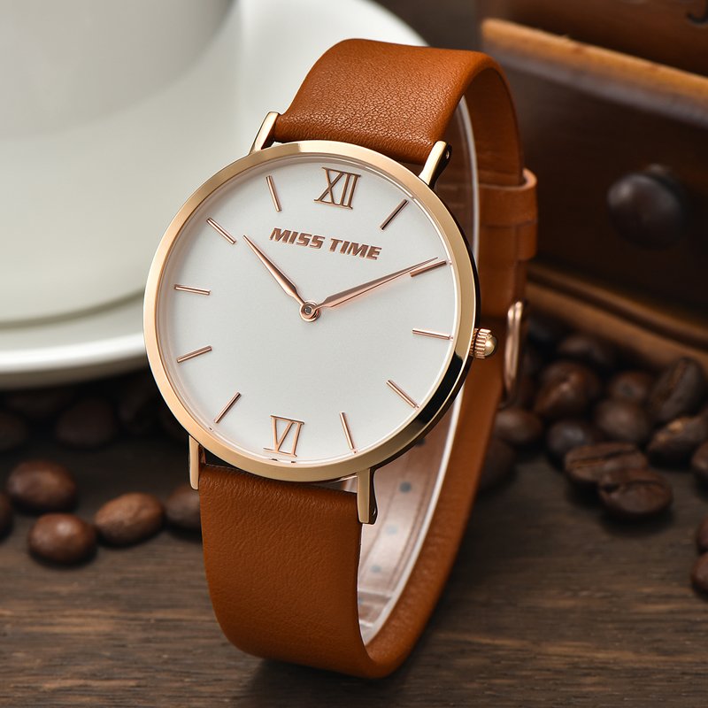 classic steel indexes dials leather quartz watch