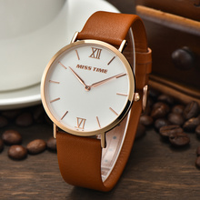 trend design water resistant stainless steel slim stone quartz watch