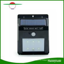 Lámpara de pared del jardín al aire libre de la energía solar 6 LED PIR Sensor de movimiento para las lámparas de césped del jardín a prueba de agua Luces del patio del paisaje