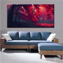 Pintura de paisagem vermelha moderna das árvores