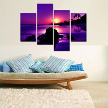 Multi Panel Canvas Art Lavender Color Seascape Sunset on Sea Landscape Wall Art