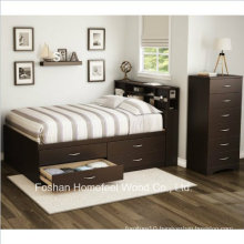 3 Piece Chocolate Kids Bedroom Furniture Wardrobe Dresser Set (HF-HH49)