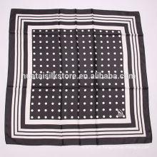 2014 últimas 100% lenço de seda preta polka dot