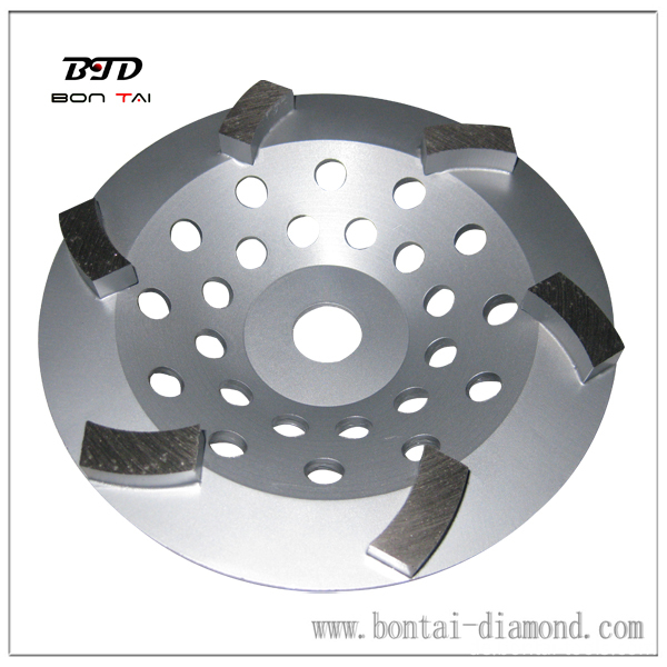 big curved 6 segment diamond cup wheel