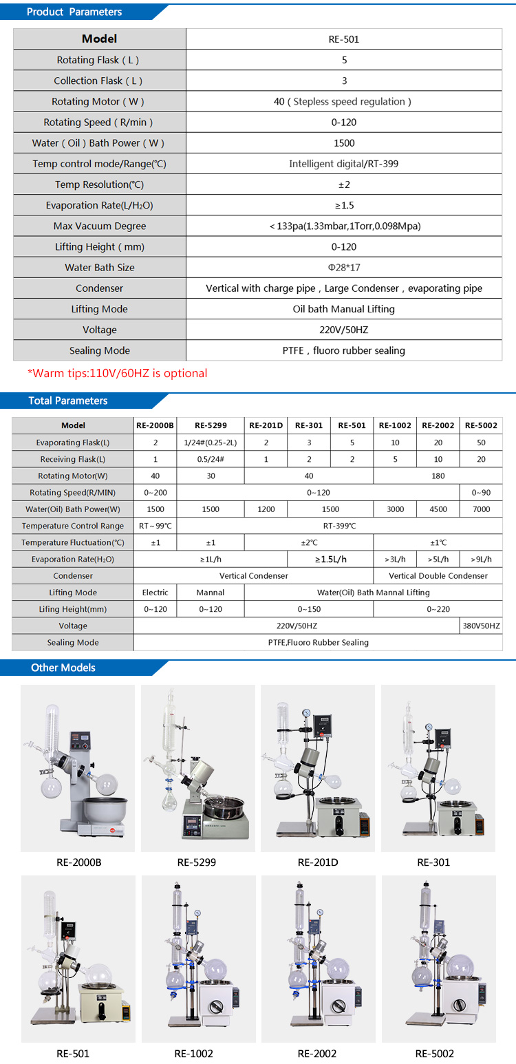 5L Lab Small Vacuum Glass Distillation Rotary Evaporator