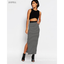 Africa Stripe Tube Knitted Casual Women Skirt with Splice