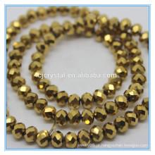 Ouro colorido rondelle esferas cortado contas de vidro china