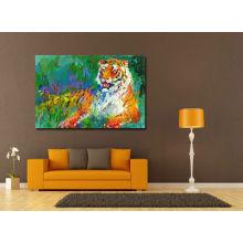 Pintura de aceite del tigre de reclinación