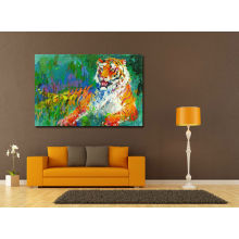 Pintura a óleo do tigre de descanso