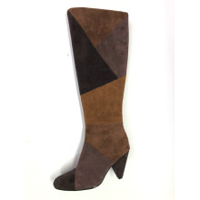 Ladies Round Toe  Kitten Heel Knee-High Boot