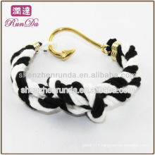 2014 hot gift items fish hook two tone cotton rope bracelets