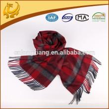 Hilado de alta calidad teñido 100% bufanda de cachemira con franja
