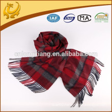 Top Quality Yarn Dyed 100% Cashmere Scarf With Fringe
