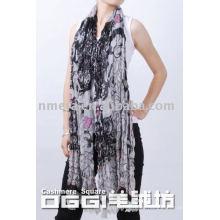 Últimas bufandas largas, bufanda de lana mercerizada impresa de damas