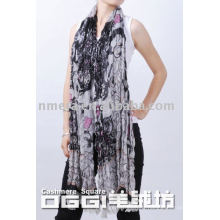 Les dernières écharpes longues, écharpe en laine mercerisée imprimée pour dames