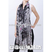 Latest long scarves, ladies' printed mercerized wool scarf