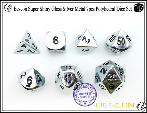 Bescon Super Shiny Gloss Silver Metal 7pcs Polyhedral Dice Set-3