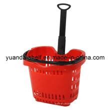 High Grade Supermarket Plastic Shopping Rolling Basket with Wheel