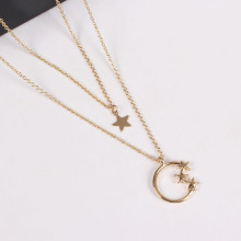 Gold Plated Necklace with Stars and Moon
