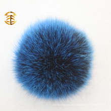 Fábrica de fornecimento direto de chaveiro bola fox pele pom poms