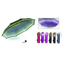 Guarda-chuva compacto de alumínio à prova de vento de cetim de impressão (YS-3FM21083941R)