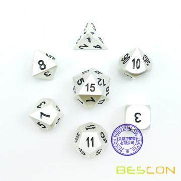 Bescon RPG Metal Dice Set de 7 Matt Pearl Silver Effect Solid Metal Polyhedral RPG Role Playing Game Dice 7pcs Set