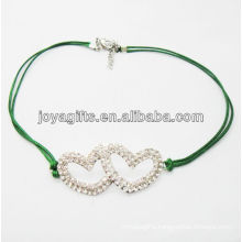 Diamante double heart alloy woven bracelet