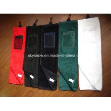 Toalla de golf 100% algodón con bolsillo (SST1018)