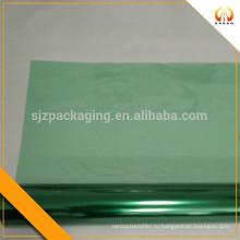 Зеленая прозрачная цветная пластиковая пленка для упаковки