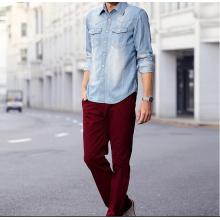 Men's long sleeve fabric washed denim shirt