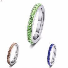Senhoras de aço inoxidável prata simples mulheres verdes anéis de pedra